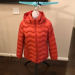 Time and Tru Puffer Coat with Hoodie Orange Small